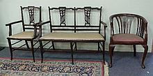 Two Edwardian armchairs and a chair back settee