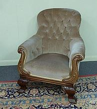 A Victorian button upholstered chair