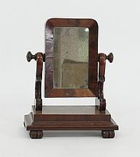 A miniature mahogany dressing table mirror, the