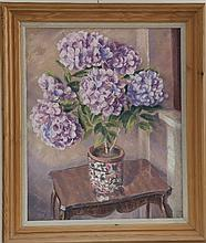 Gerald Ososki/Still Life/vase of hydrangeas on a