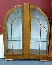 An Art Deco style mahogany veneer display cabinet,