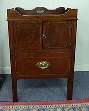 A George III mahogany tray top commode, with
