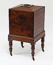 A Regency mahogany bottle box of square form, the