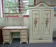 A Victorian painted bedroom suite comprising