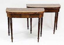 A pair of George III mahogany D shaped tea tables,