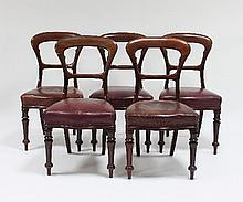 Five Victorian mahogany dining chairs, with