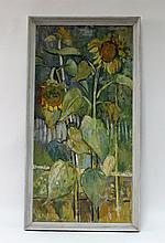 John Livesey/Sunflowers/signed/oil on board,