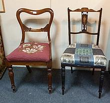 A William IV rosewood framed dining chair, and two