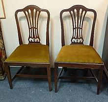 Six 19th Century dining chairs with pierced splat