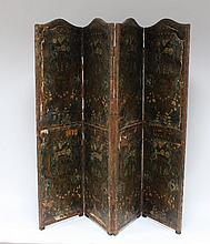 A painted and decorated four-fold screen with