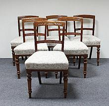 Six late 19th Century walnut dining chairs, with