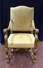 A 19th Century upholstered leather armchair, the