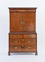 A Queen Anne walnut cabinet-on-chest, the