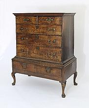 An 18th Century oak chest on stand of two short