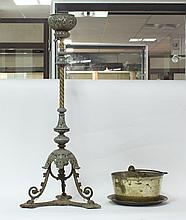 A brass standard oil lamp, brass preserve pan and
