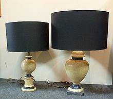 Two faux marble table lamps, with black shades,