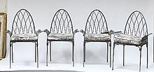 Four iron garden chairs with gothic arched backs
