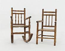 Two dolls' beechwood chairs with spindle backs