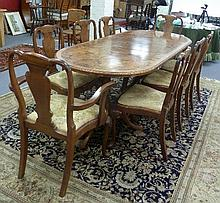A set of eight Queen Anne style walnut dining