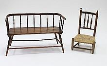 A child's stick back settee and a child's spindle