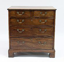 A George III mahogany chest of two short and three