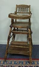 A child's metamorphic high chair, with ivorine