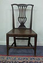 An oak single chair with pierced splat, circa 1800