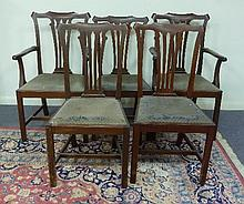 A set of eight mahogany dining chairs and two