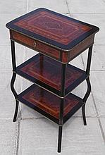 A kingwood and ebony three-tier ÚtagÞre, the top