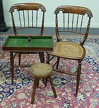 A pair of simulated rosewood chairs with spindle