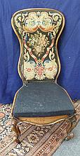 A Victorian walnut prie dieu, with needlework