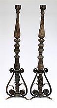 Two Italian 18th Century bedposts with acanthus,