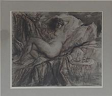 Gerald Ososki/Reclining Nude/on a couch beside a
