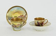 A Royal Worcester small dish, coffee cup and a