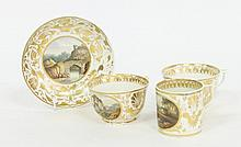 A group of Derby topographical tea wares, circa