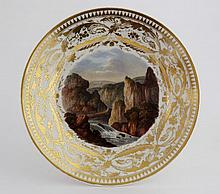 A Derby topographical plate, circa 1815, painted a