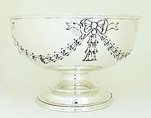 A silver punch bowl, Sheffield 1989, embossed with