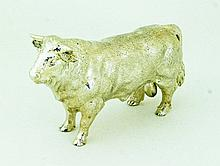 A silver model of a bull, BSEP, London 2010, 10cm