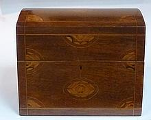 A Dutch mahogany decanter box with inlaid