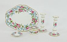 A Mintons dressing table set, comprising tray,