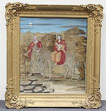 A 19th Century woolwork and watercolour picture,