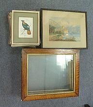 Six oak frames and sundry pictures and prints
