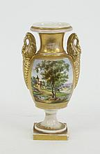 A Paris porcelain urn, with swan handles painted
