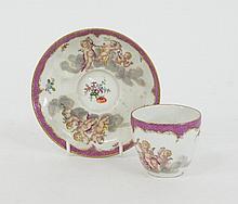 A Meissen (punkt) teacup and saucer, circa