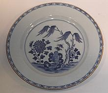 A Chinese blue and white saucer dish decorated a