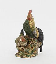 A Japanese satsuma figure of a cock and hen,