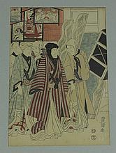 After Toyokuni, a Japanese wood block print of