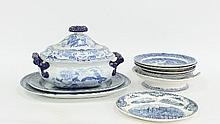 A large blue and white tureen and sundry blue and