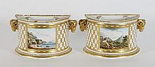 A pair of Derby porcelain bough pots, late 18th