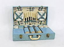 A Brexton picnic set, in a blue mottled case